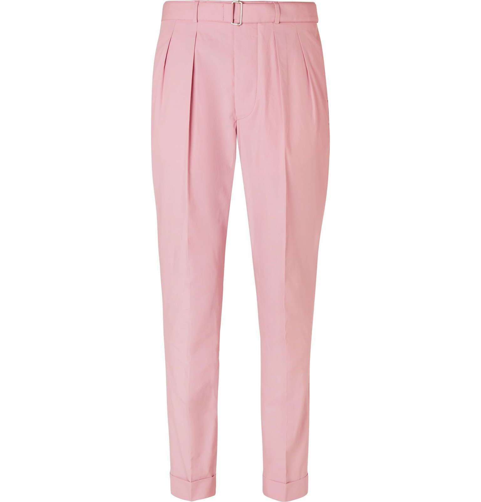 Photo: Officine Generale - Pierre Slim-Fit Belted Pleated Cotton-Poplin Suit Trousers - Pink