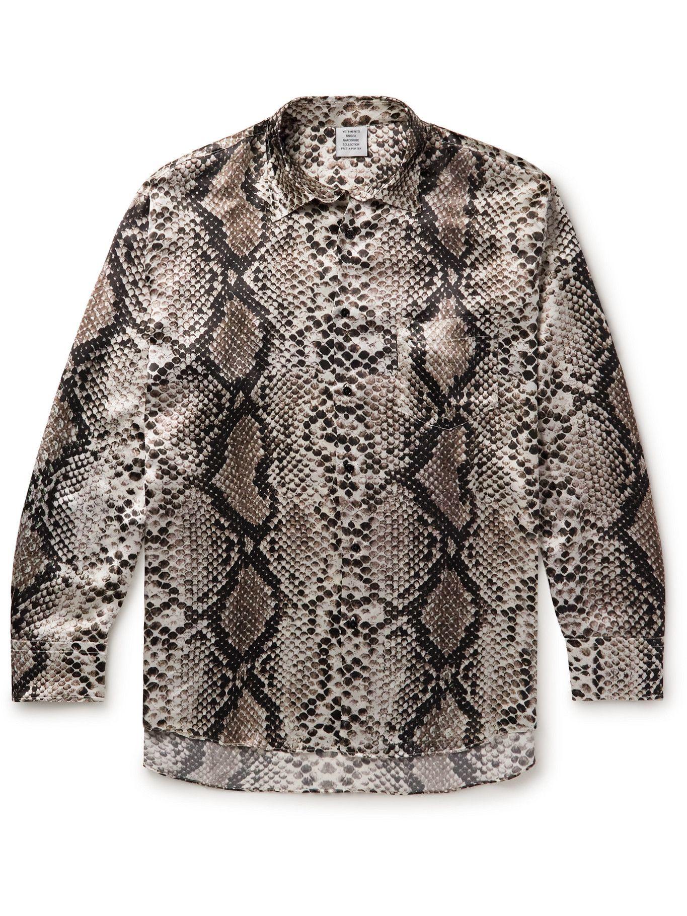 Photo: Vetements - Logo-Appliquéd Snake-Print Woven Shirt - Neutrals