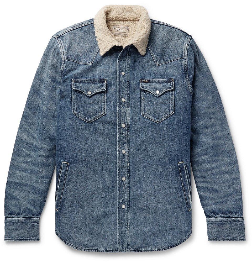 Sherpa-Lined Denim Western Shirt Jacket