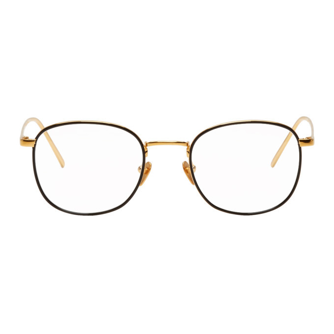 Photo: Linda Farrow Luxe Gold and Black 719 C1 Glasses