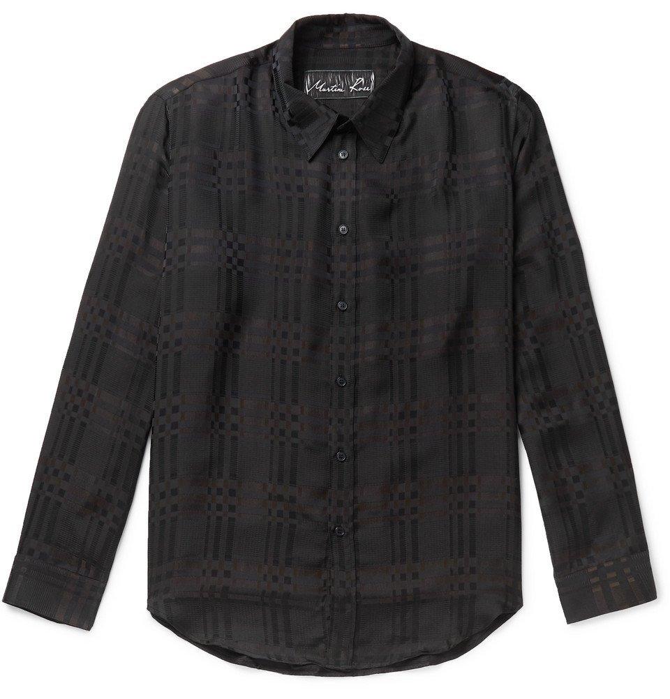 Martine Rose - Checked Satin Shirt - Black