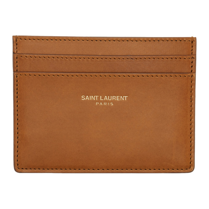 Photo: Saint Laurent Tan Logo Card Holder