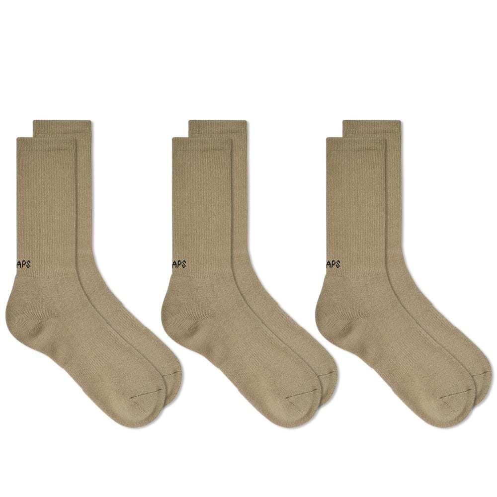 Photo: WTAPS Skivvies Sock - 3 Pack Olive Drab