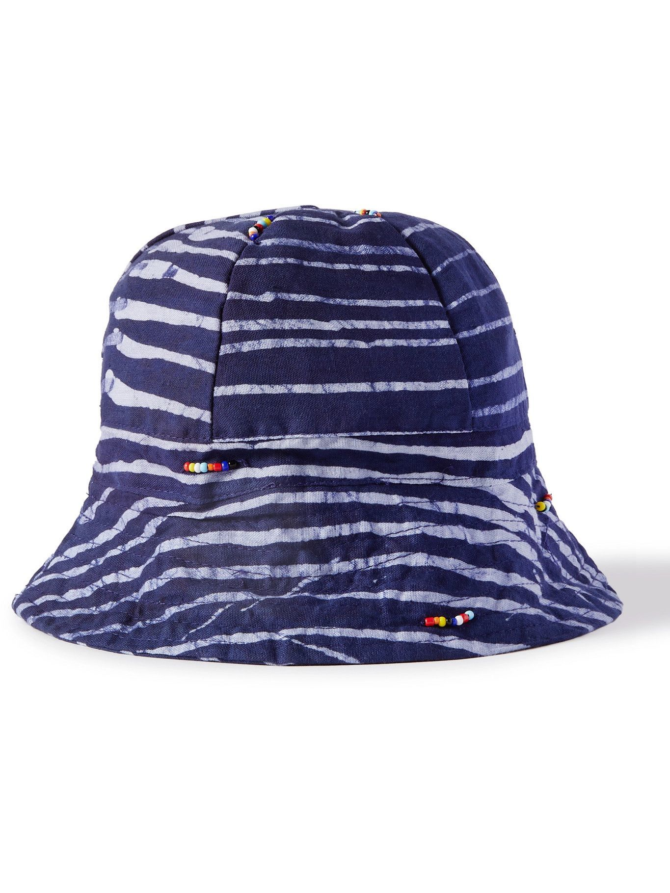 Photo: Post-Imperial - Beaded Striped Indigo-Dyed Cotton Bucket Hat