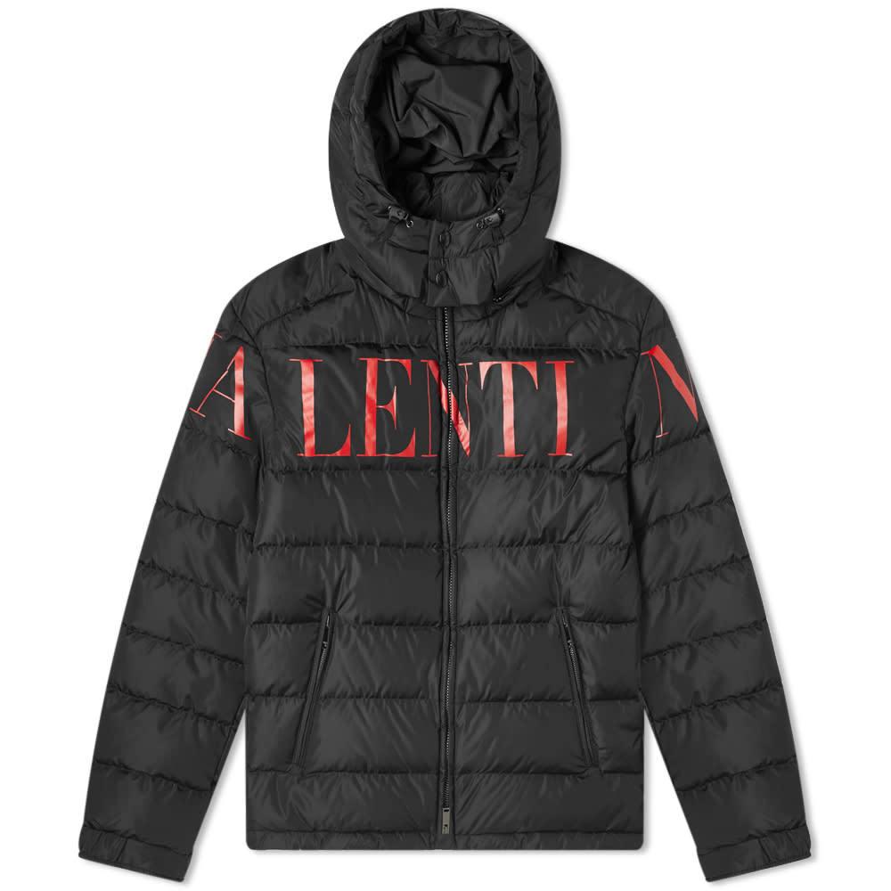 Photo: Valentino Logo Print Hooded Down Jacket Black & Red