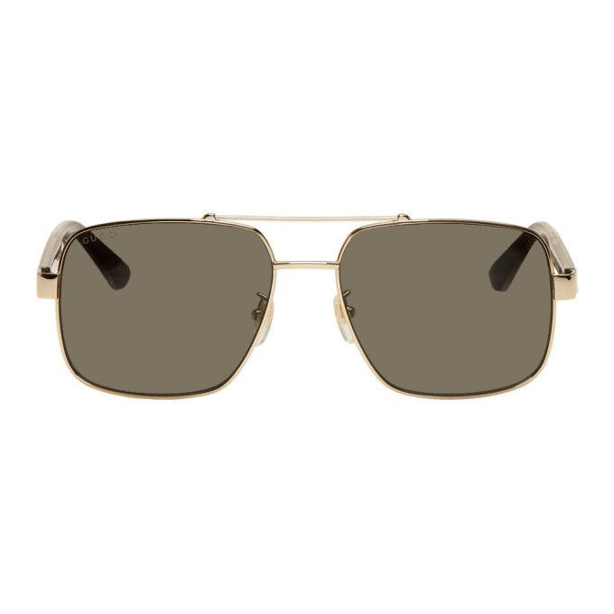 Photo: Gucci Gold Metal Double Bridge Sunglasses