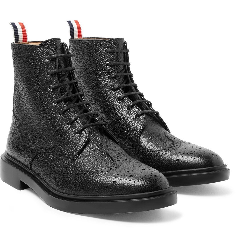 Photo: Thom Browne - Pebble-Grain Leather Wingtip Boots - Black