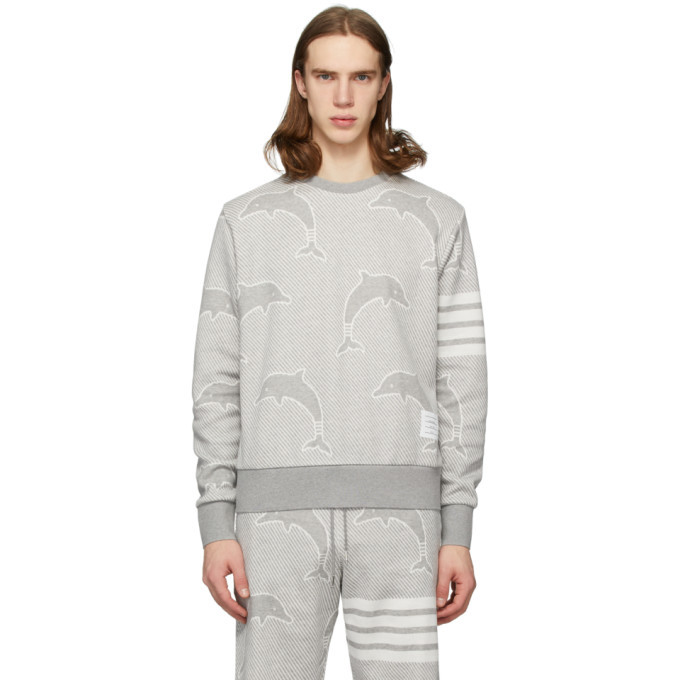 Photo: Thom Browne Grey Cotton Dolphin Icon 4-Bar Sweatshirt