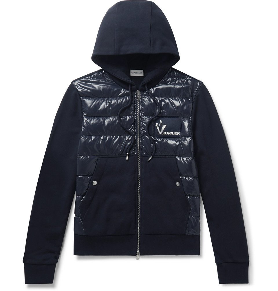 Photo: Moncler - Panelled Cotton-Jersey and Quilted Shell Down Zip-Up Hoodie - Navy