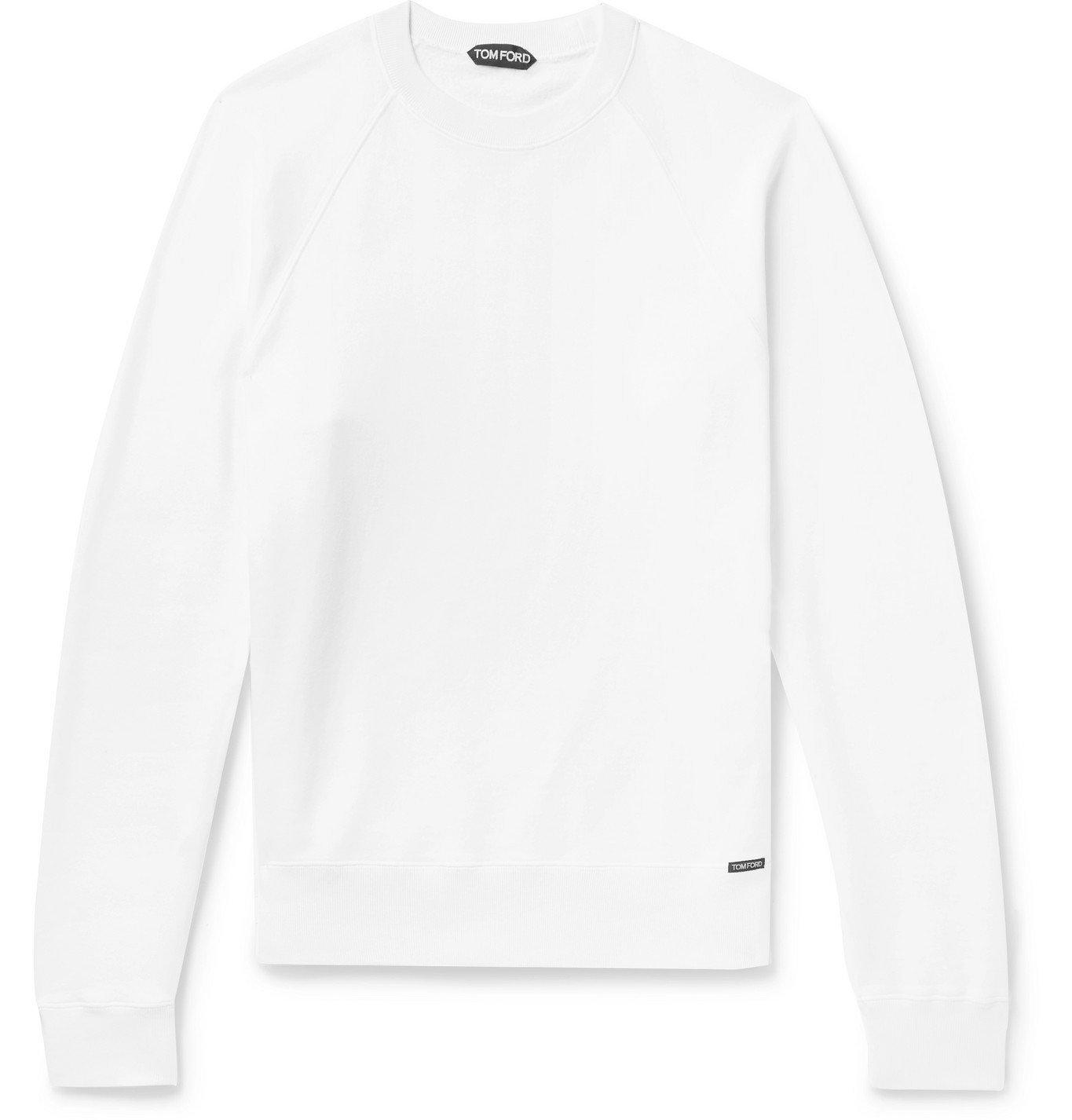 Photo: TOM FORD - Fleece-Back Cotton-Jersey Sweatshirt - White