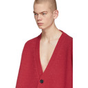 Raf Simons Pink V-Neck Leather Patch Cardigan