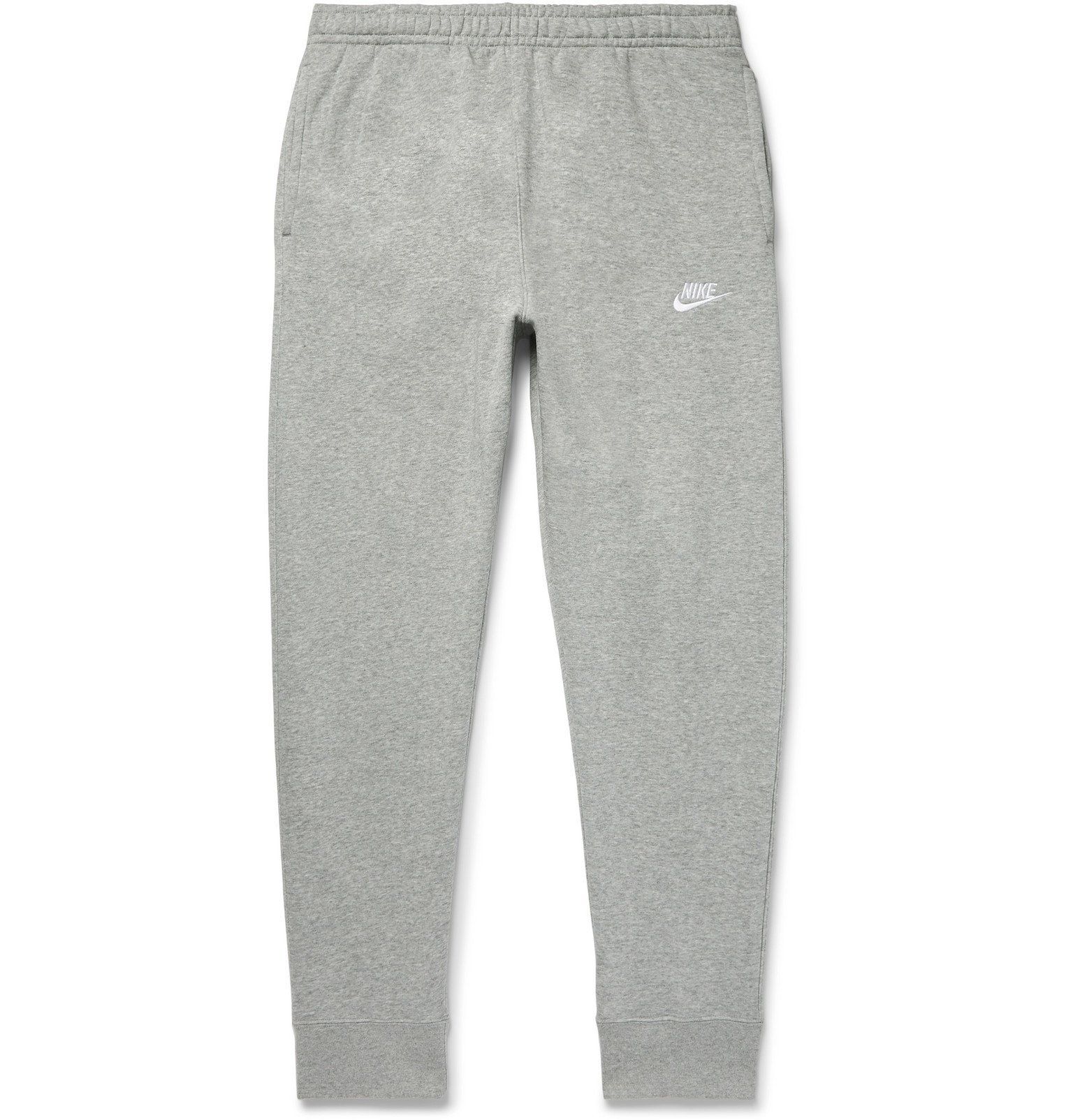 Photo: Nike - Sportswear Club Tapered Mélange Fleece-Back Cotton-Blend Jersey Sweatpants - Gray