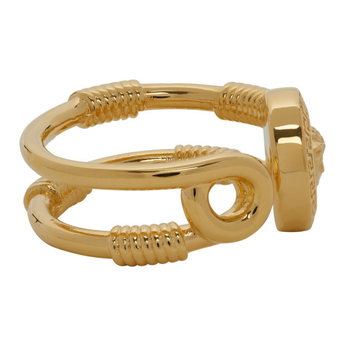 Versace Gold Safety Pin Ring