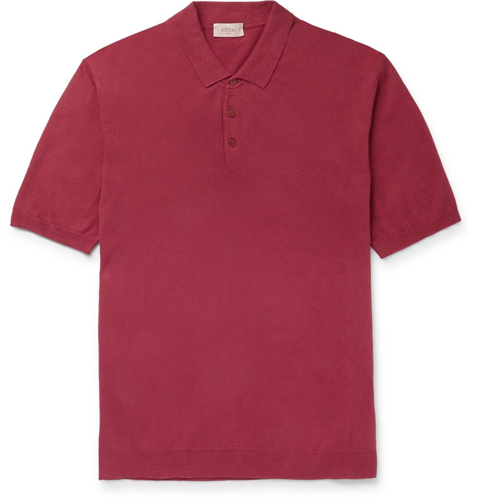 Photo: Altea - Linen and Cotton-Blend Polo Shirt - Red