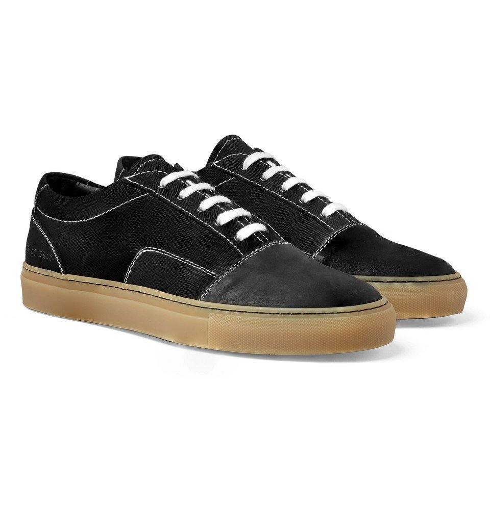 Photo: Common Projects - Cap-Toe Canvas and Nubuck Sneakers - Men - Black