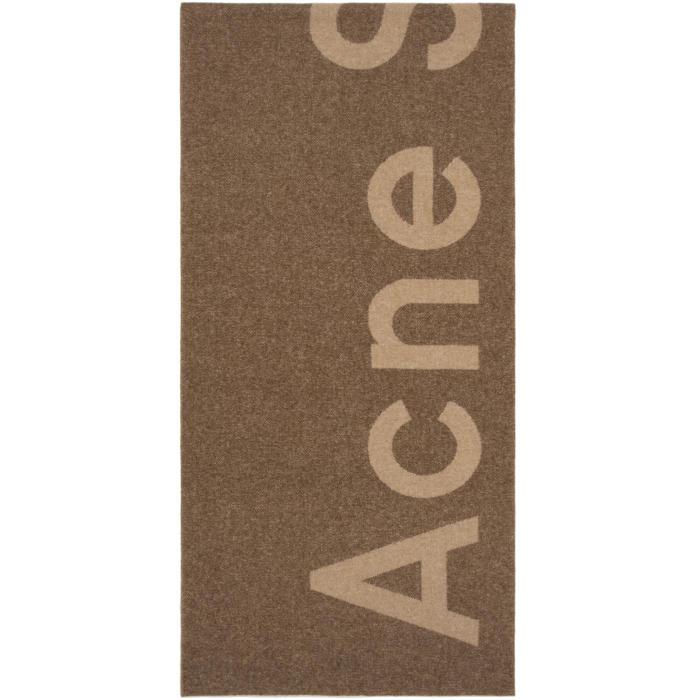Photo: Acne Studios Tan Toronty Logo Scarf