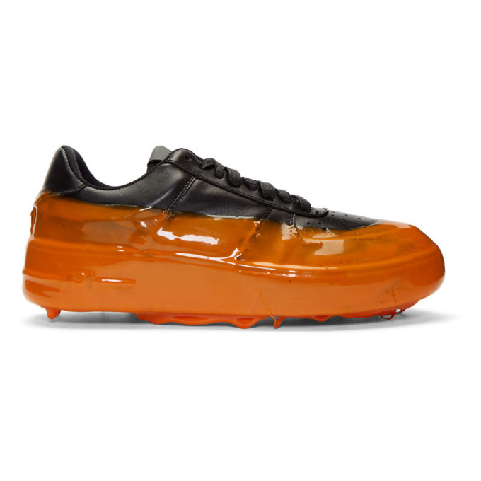 Photo: 424 Black and Orange Dipped Sneakers