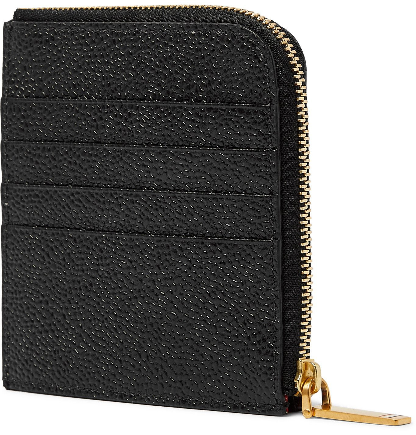 Thom Browne - Grosgrain-Trimmed Pebble-Grain Leather Zip-Around Wallet - Black