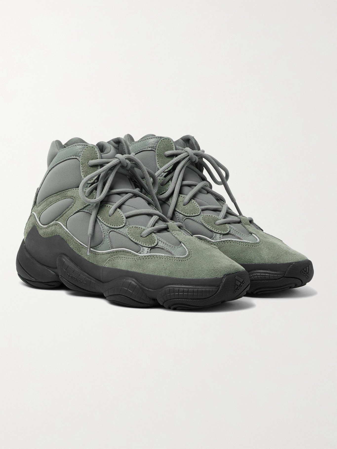Photo: ADIDAS ORIGINALS - Yeezy 500 Neoprene, Suede and Leather High-Top Sneakers - Gray