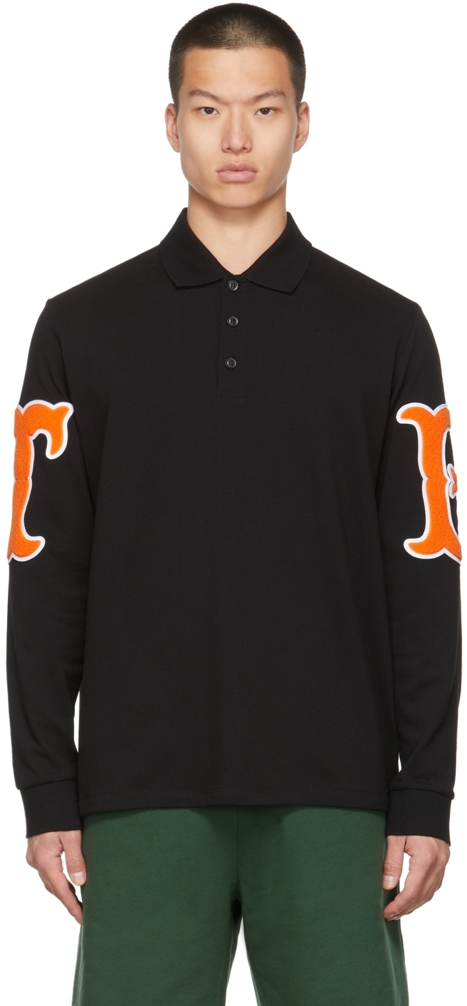 Photo: Burberry Black Letter Graphic Long Sleeve Polo