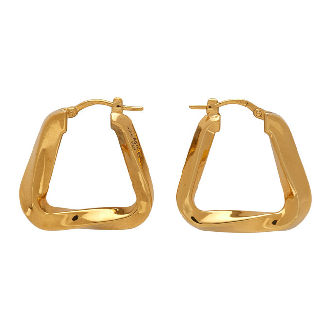 Photo: Bottega Veneta Gold Twisted Triangle Hoop Earrings