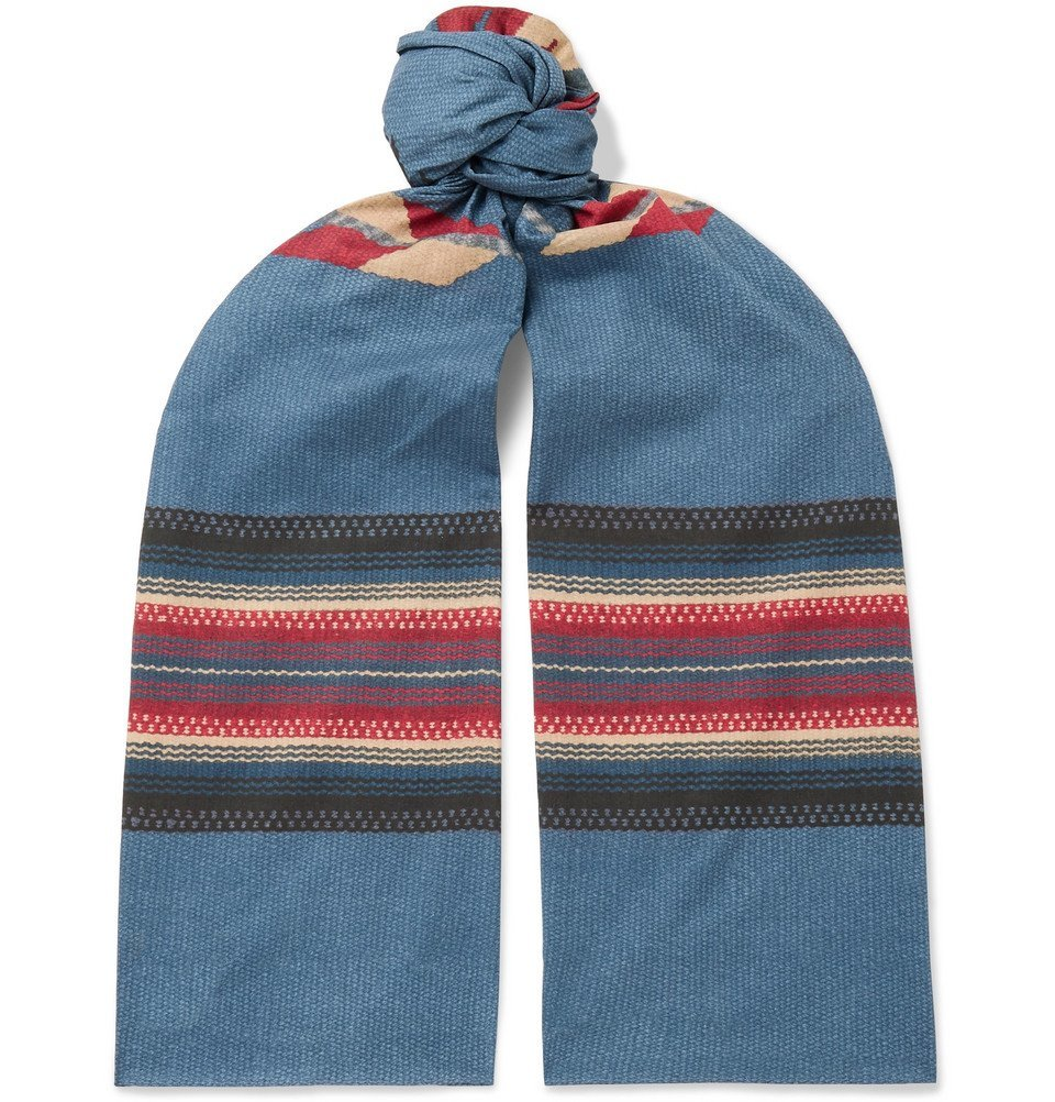 RRL - Printed Cotton-Voile Scarf - Navy