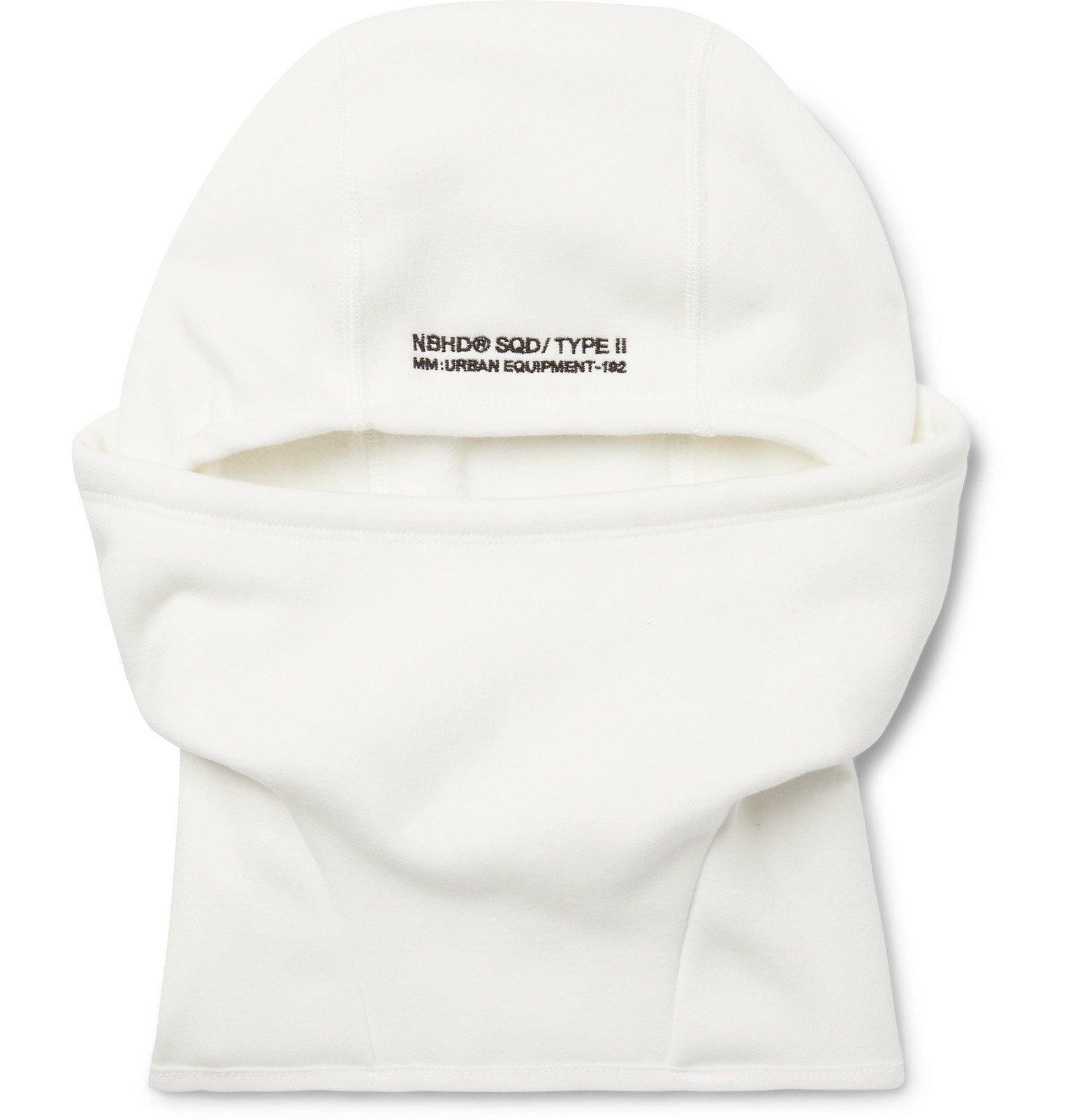 Photo: Neighborhood - Logo-Embroidered Fleece-Back Jersey Balaclava - White