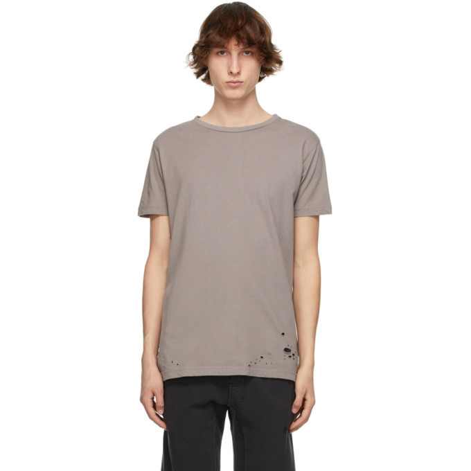 Photo: Ksubi Taupe Distressed Seeing Lines T-Shirt