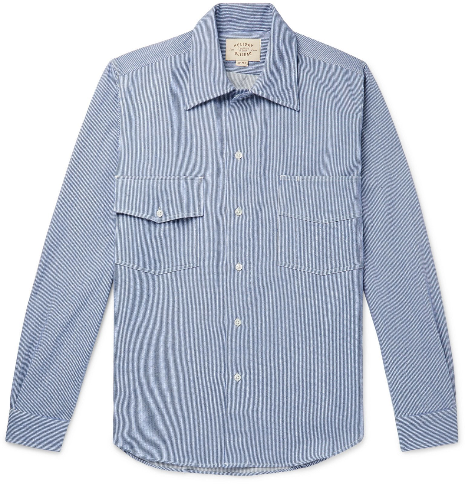 Photo: Holiday Boileau - Logo-Embroidered Pinstriped Cotton Shirt - Blue