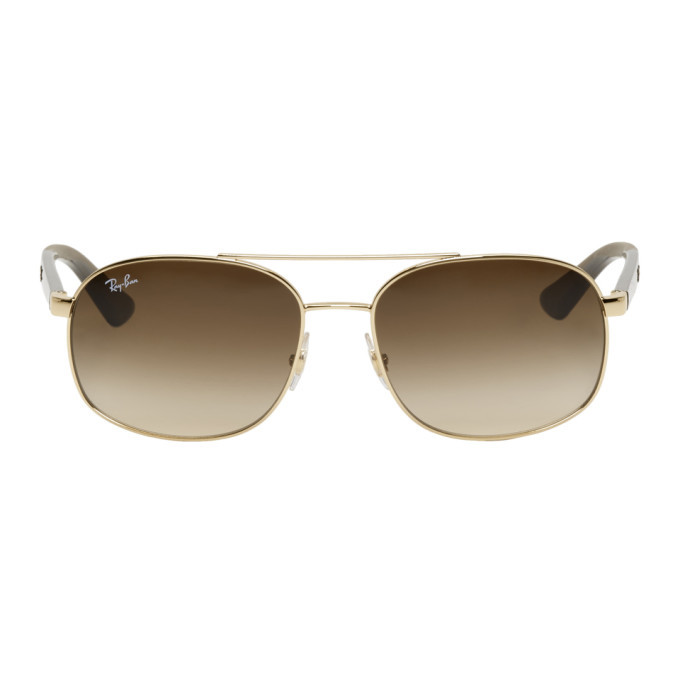 Photo: Ray-Ban Gold and Brown RB3593 Sunglasses