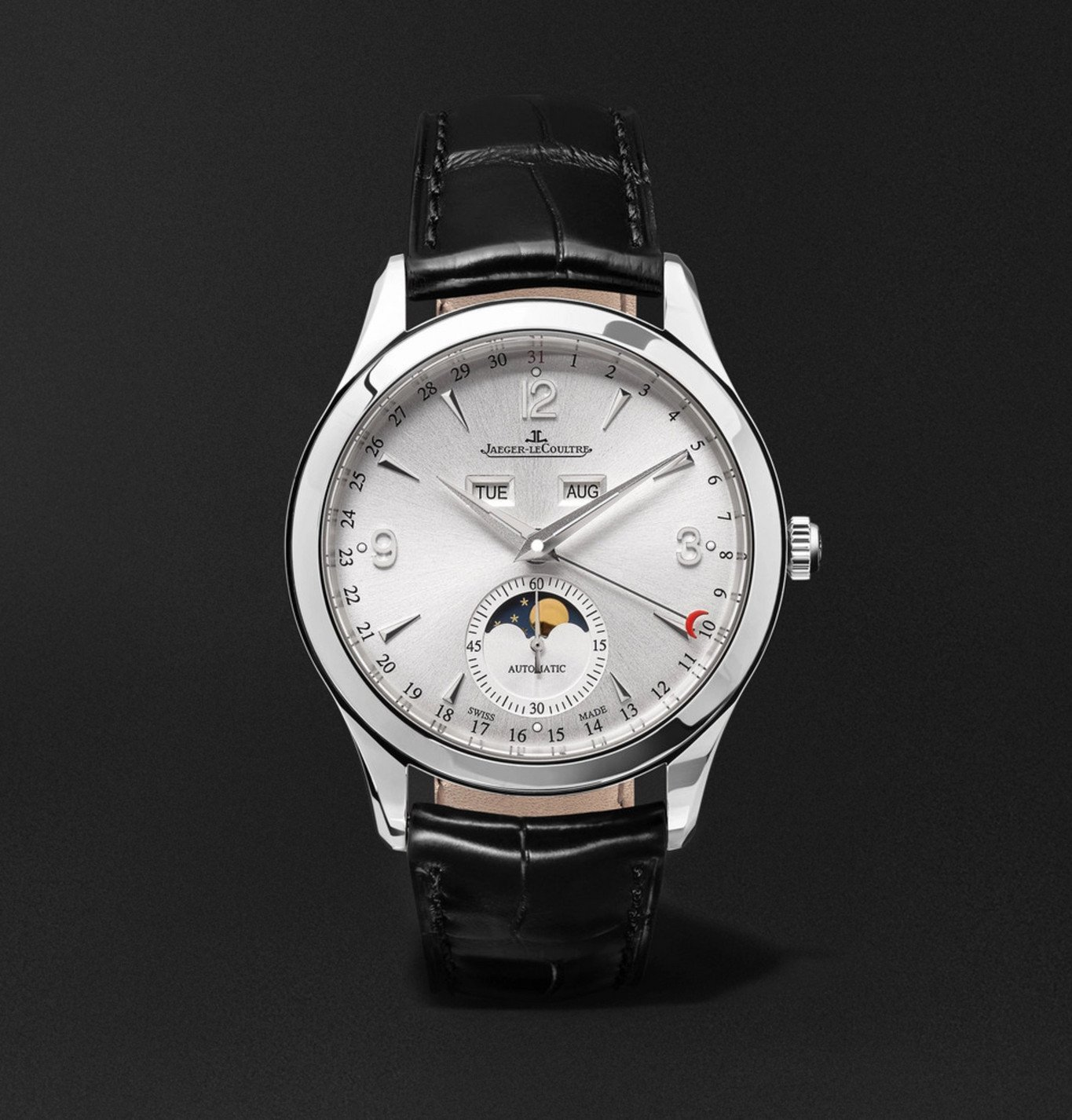 Photo: Jaeger-LeCoultre - Master Calendar Automatic Stainless Steel and Alligator Watch, Ref. No. Q1558420 - Silver