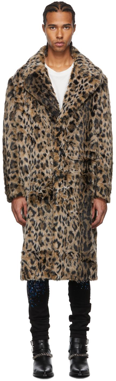 Photo: AMIRI Beige & Black Faux Leopard Fur Coat