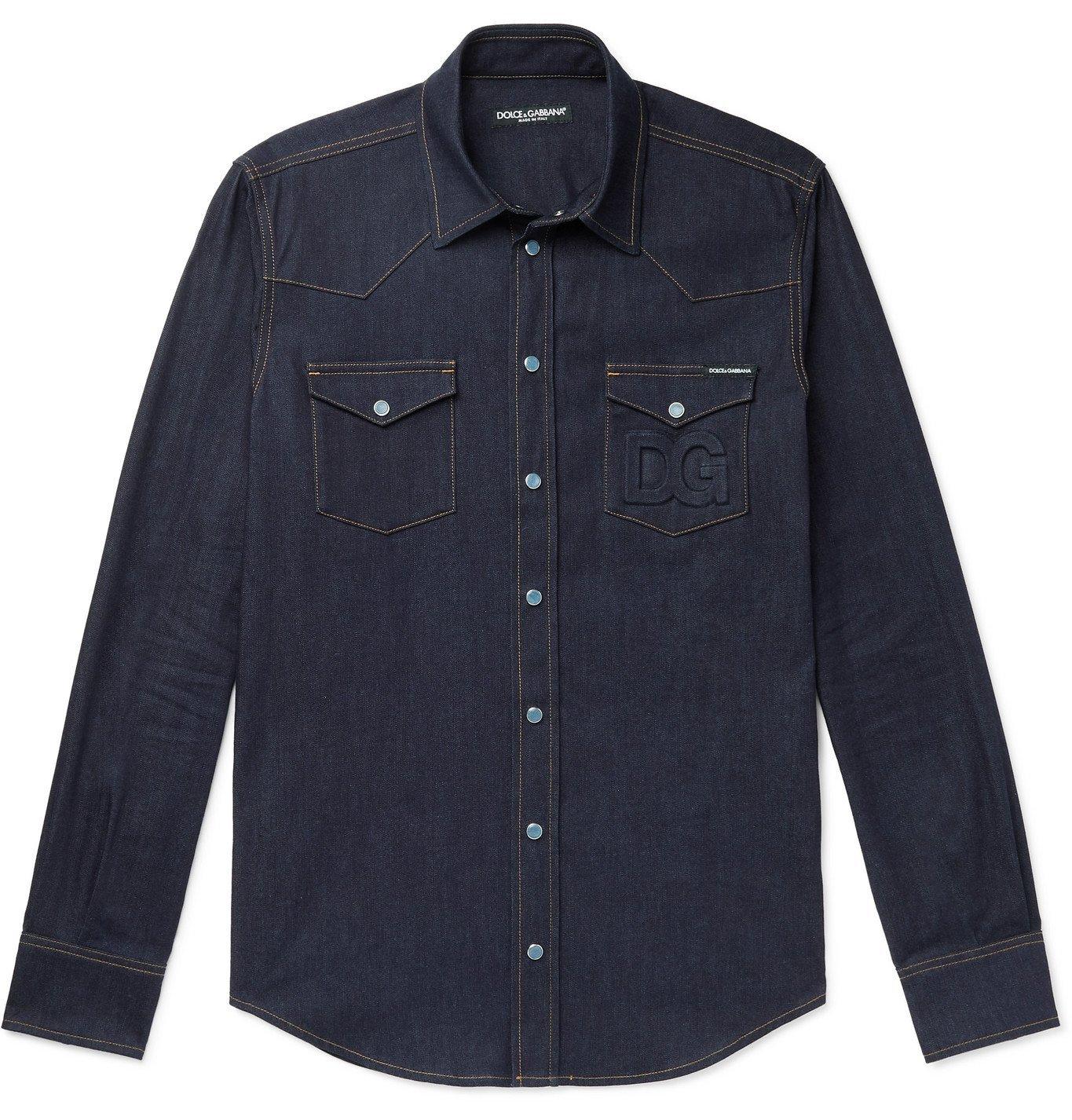 Photo: DOLCE & GABBANA - Logo-Embossed Denim Western Shirt - Blue