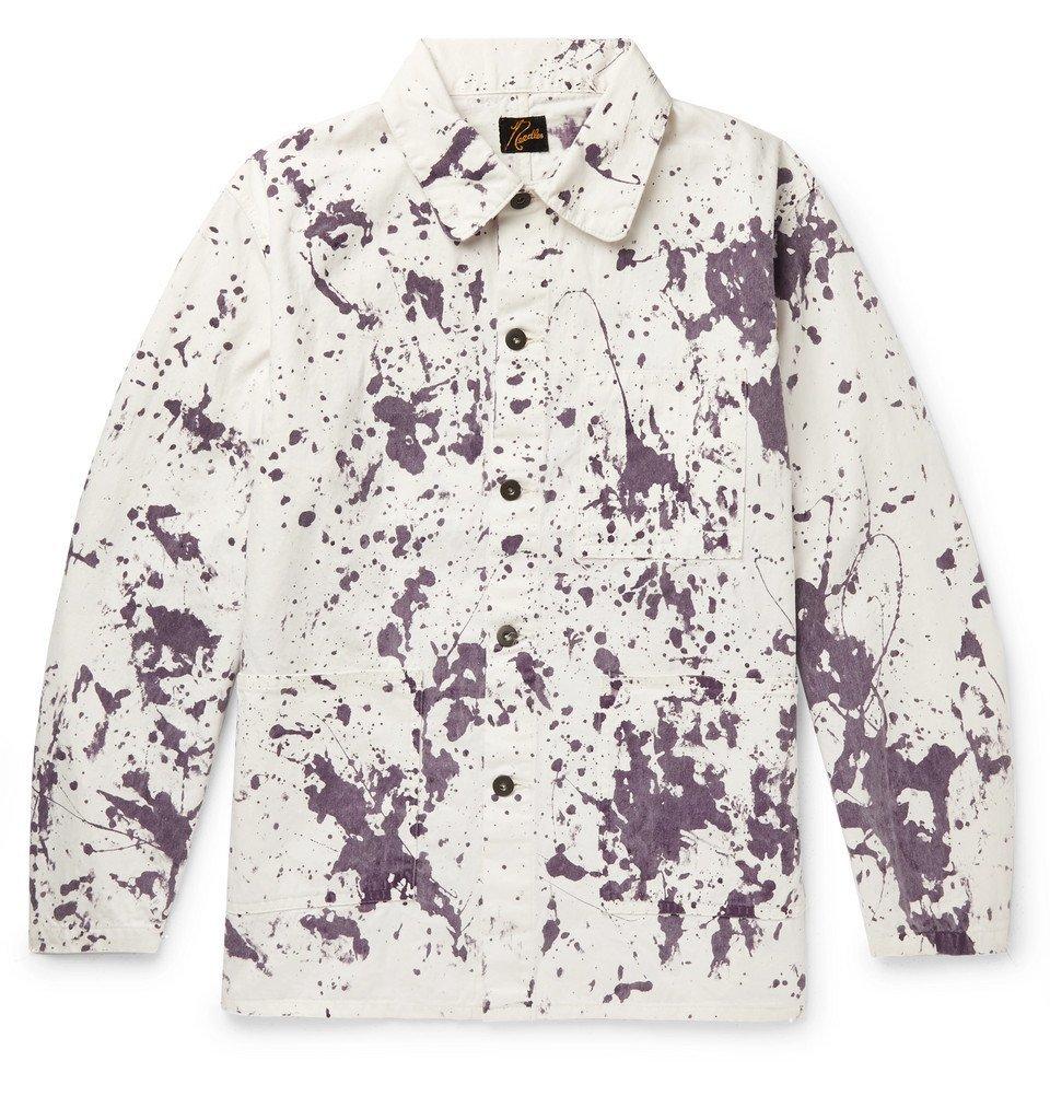 Photo: Needles - Paint-Splattered Denim Jacket - White