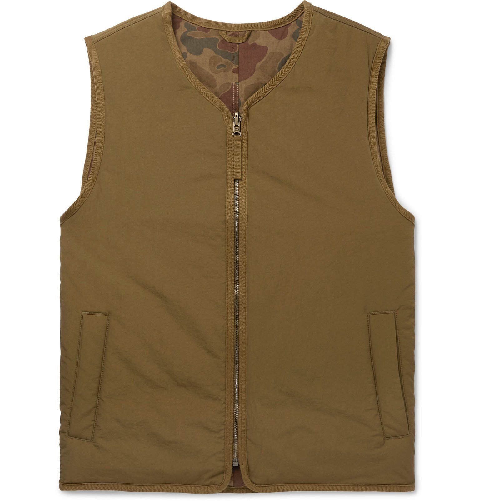 Photo: Alex Mill - Reversible Padded Camouflage-Print Nylon and Cotton Gilet - Green