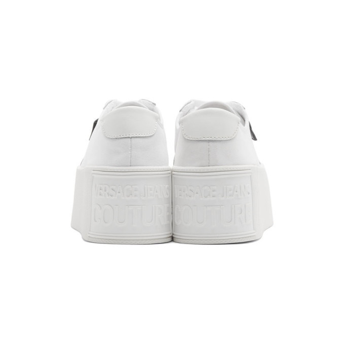 Versace Jeans Couture White Canvas Platform Sneakers