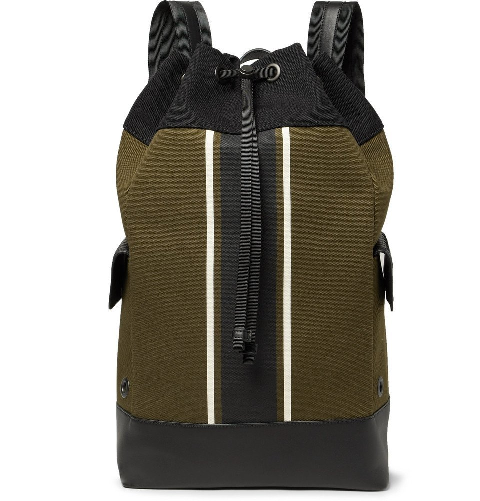 Photo: Bottega Veneta - Intrecciato Leather-Trimmed Striped Canvas Backpack - Men - Army green