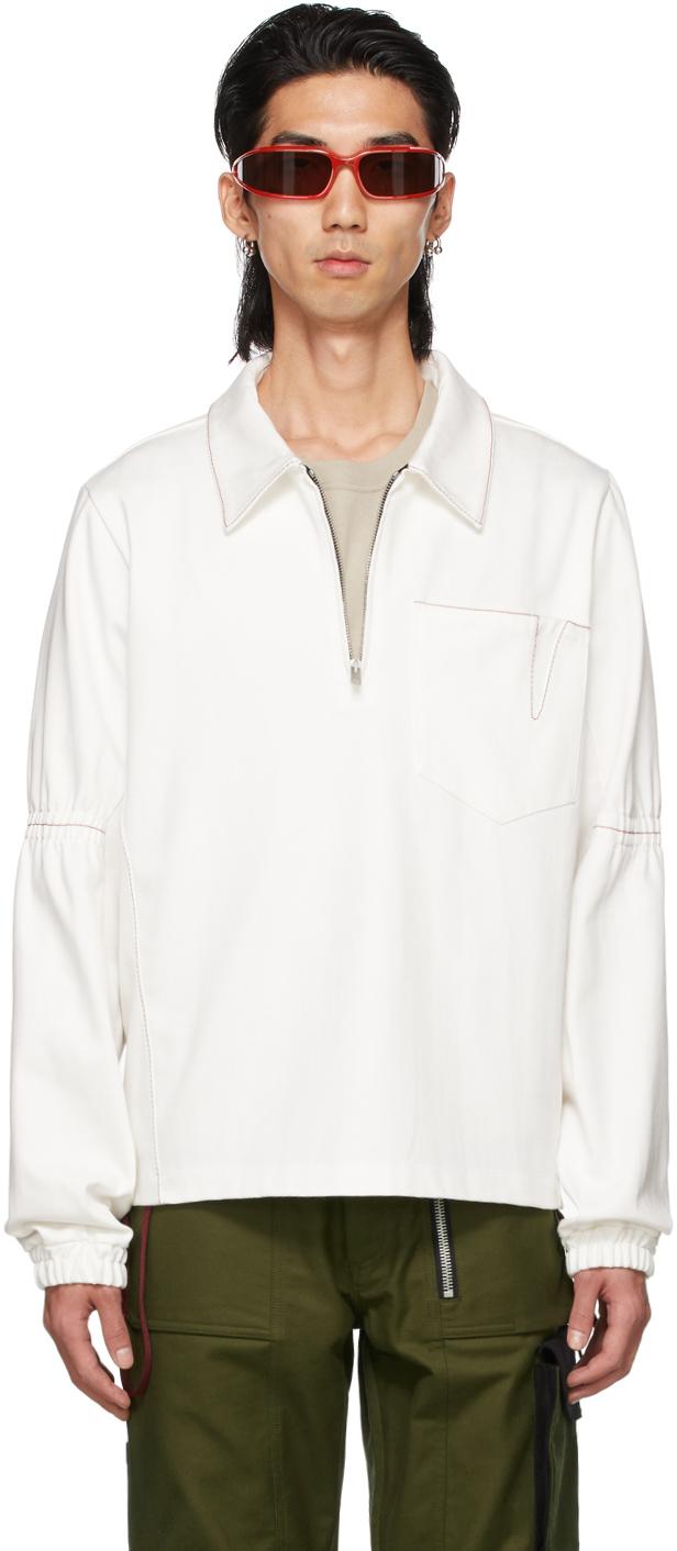 Photo: ADYAR SSENSE Exclusive White Denim Zip-Up Pullover