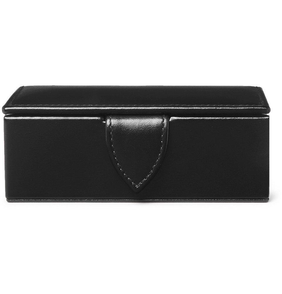 Smythson - Leather Cufflinks Box - Black