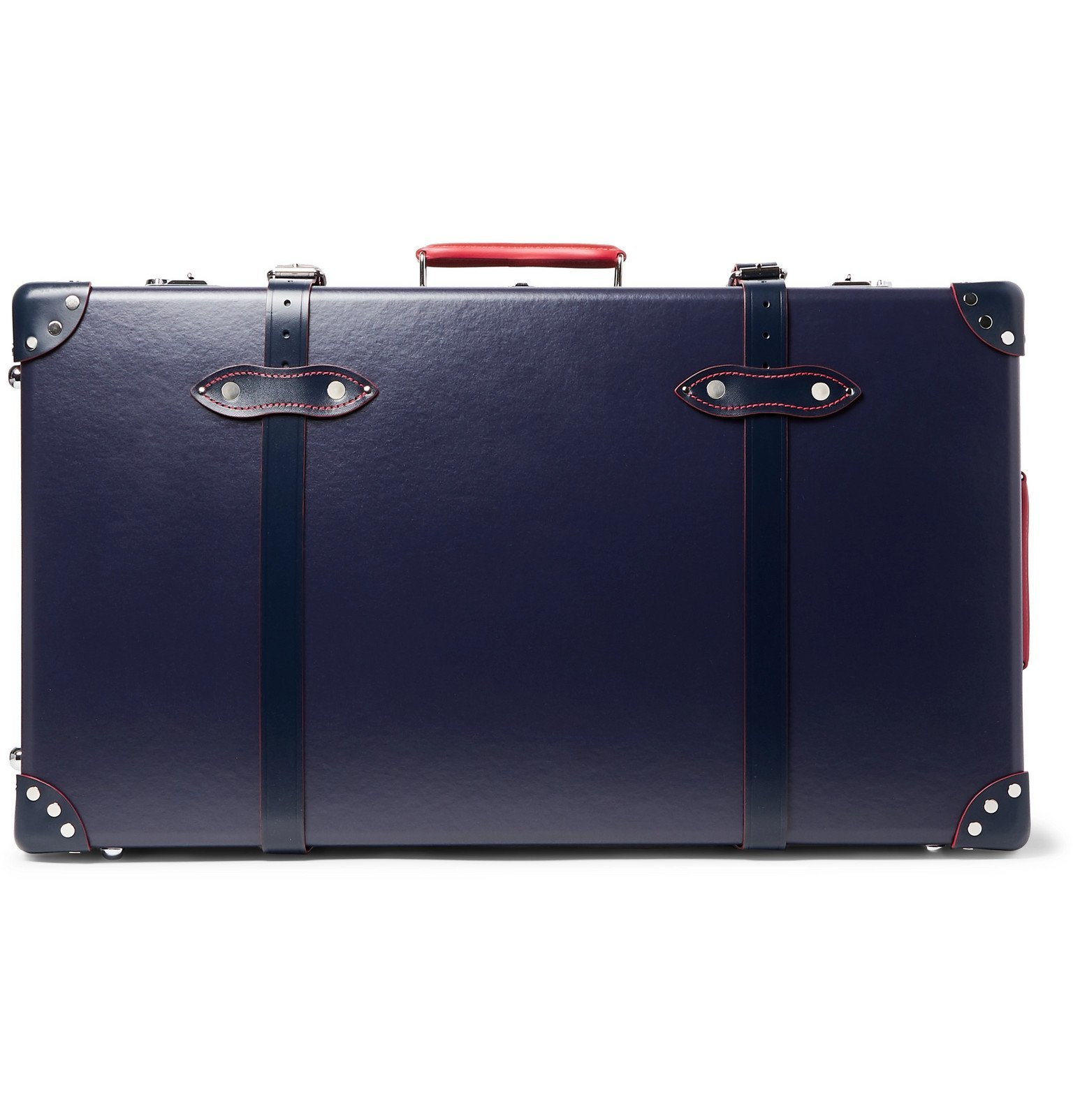 "Photo: Globe-Trotter - St Moritz 30"" Leather-Trimmed Trolley Case - Blue"