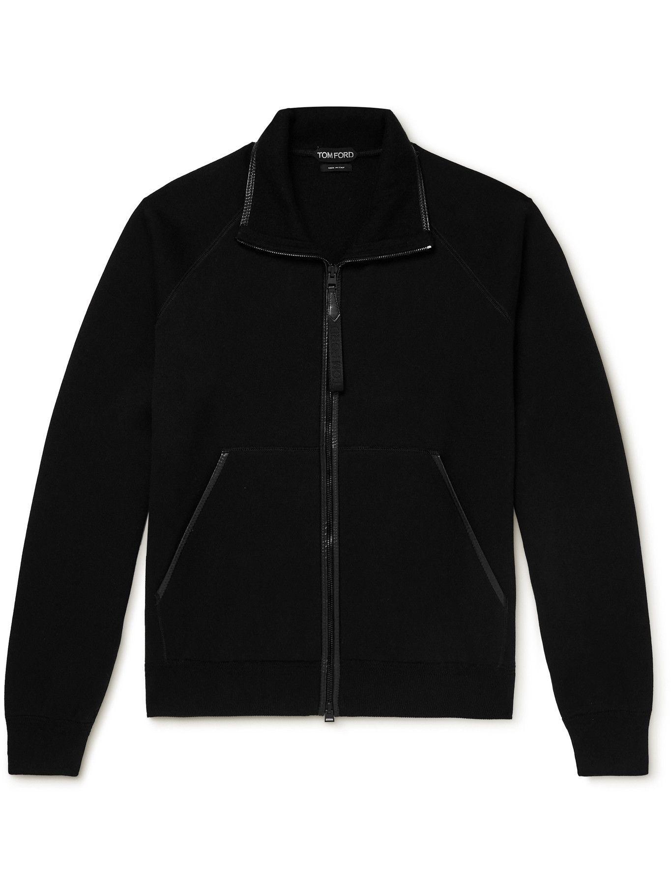 Photo: TOM FORD - Leather-Trimmed Cotton-Blend Zip-Up Sweatshirt - Black