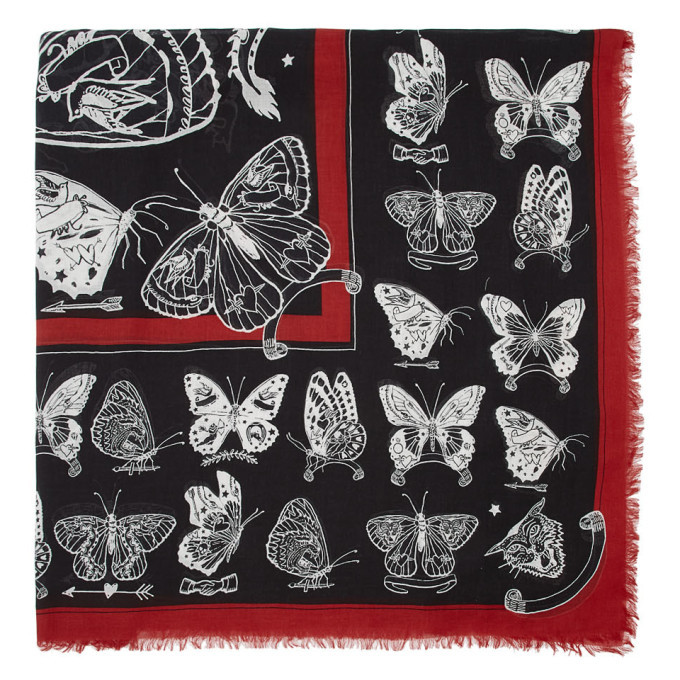 Photo: Alexander McQueen Black and White Inked Butterfly Shawl