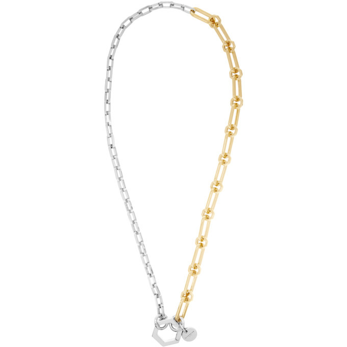 Photo: Givenchy Gold and Silver Hexagon Hook Chain Necklace