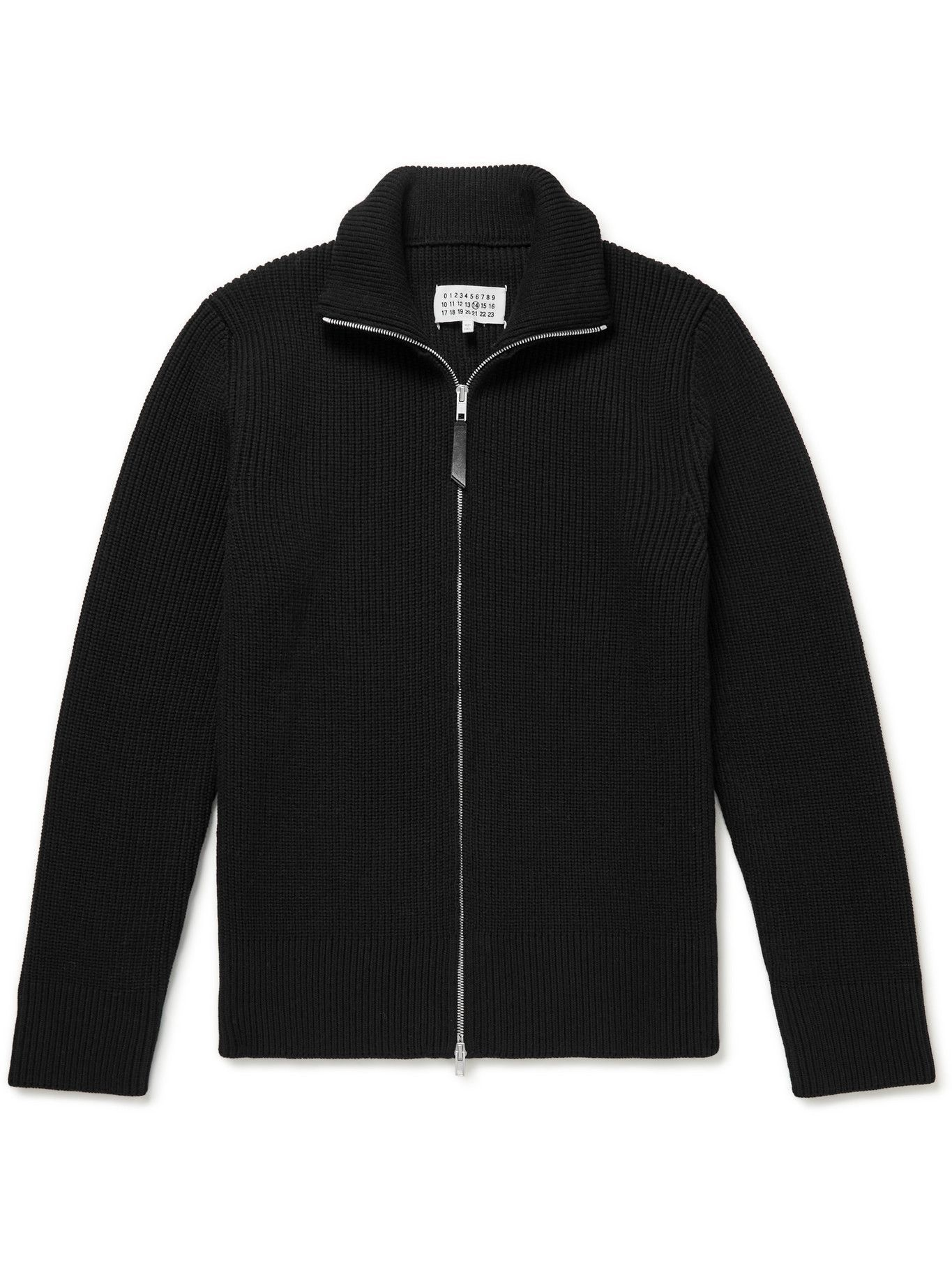 Maison Margiela - Ribbed Cotton and Wool-Blend Zip-Up Sweater - Black