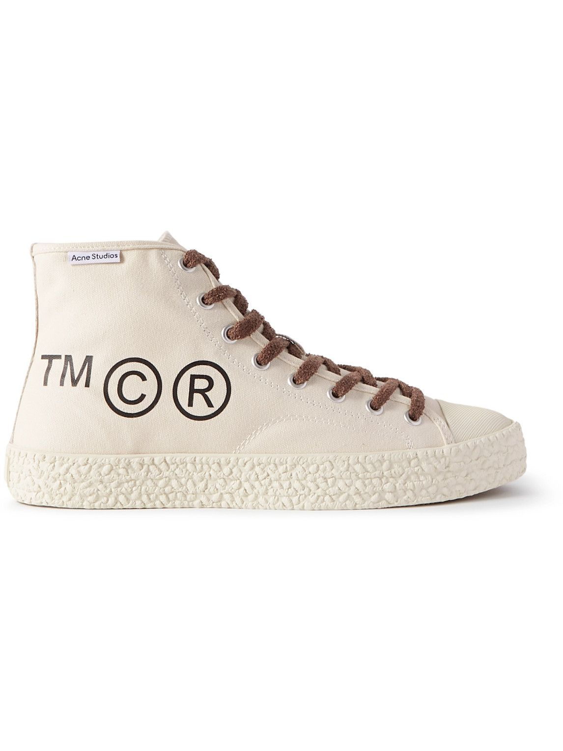 Photo: Acne Studios - Printed Cotton-Canvas High-Top Sneakers - Neutrals