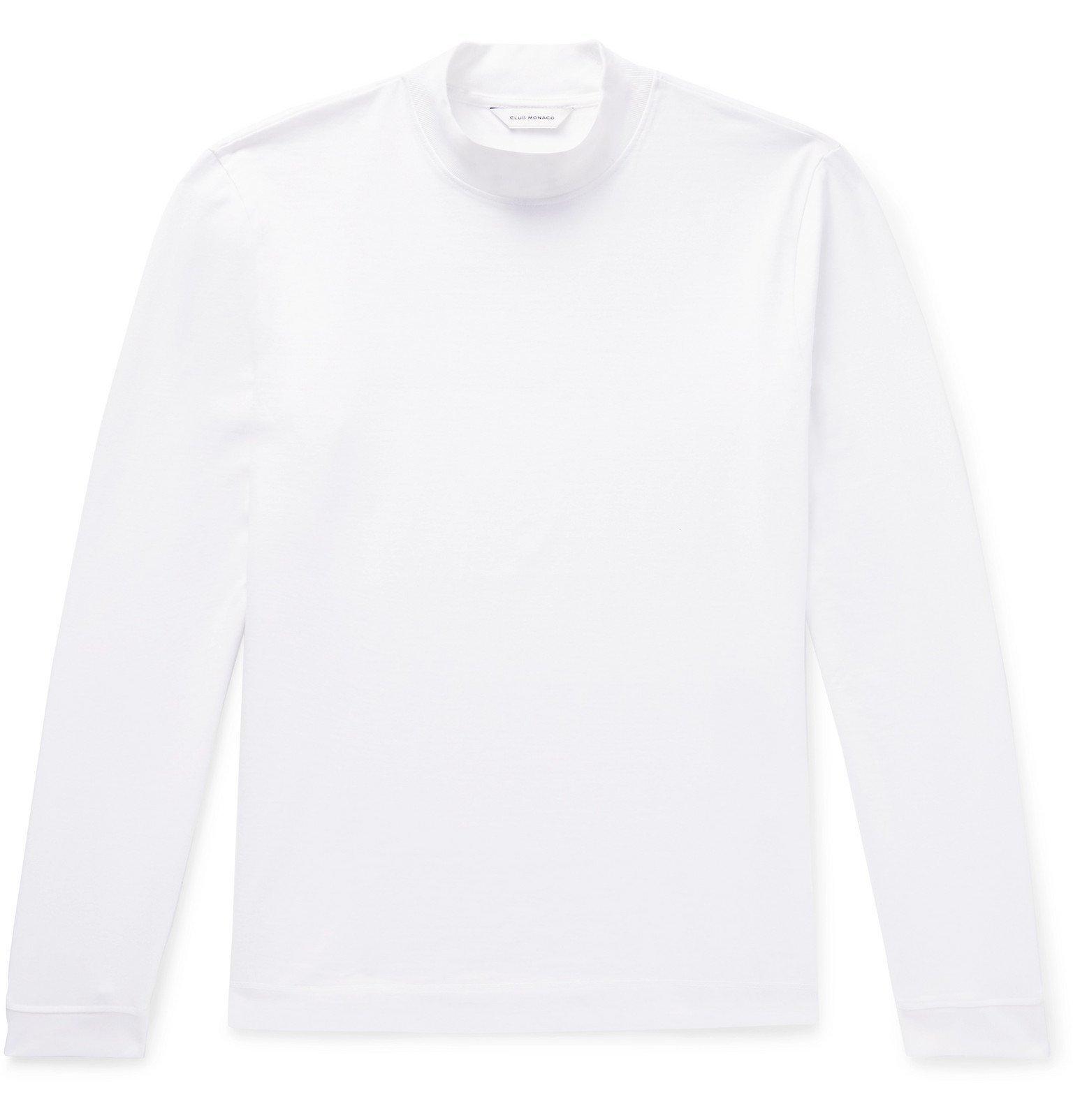 Photo: Club Monaco - Cotton-Jersey Mock Neck T-Shirt - White