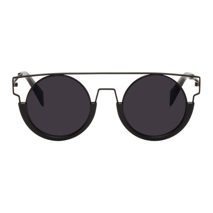 Photo: Yohji Yamamoto Black Round Wire Frame Sunglasses