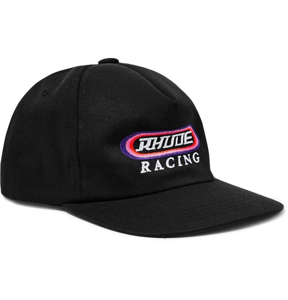 Photo: Rhude - Logo-Embroidered Cotton-Twill Baseball Cap - Black