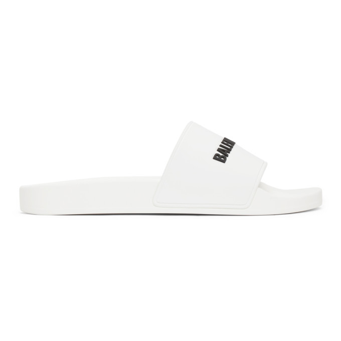 Photo: Balenciaga White Logo Pool Slides
