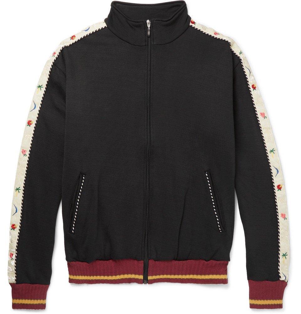 KAPITAL - Embroidered Velvet-Trimmed Cotton-Blend Jersey Track Top - Men - Black